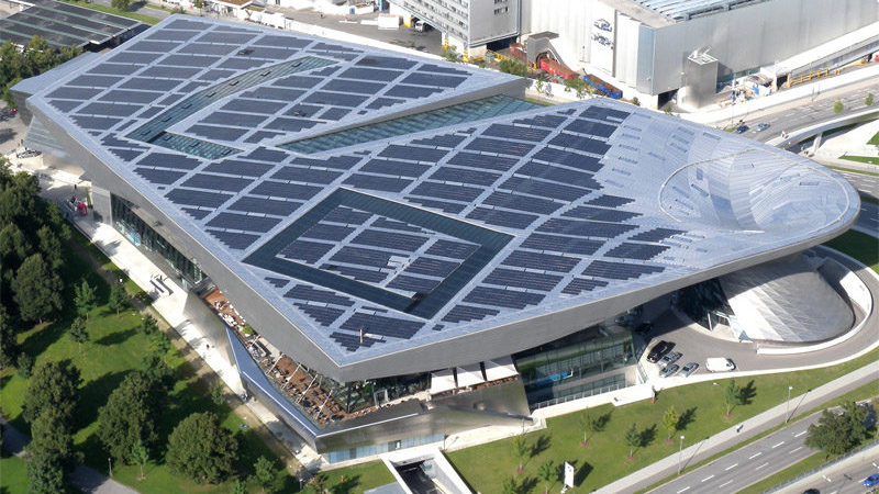PV on roof of BMW World